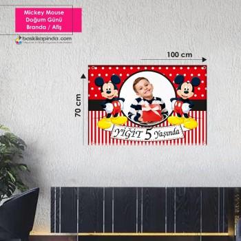 Doğum Günü Afişi (70 x 100 cm)  Mickey Mause Avrupa Vinil Branda