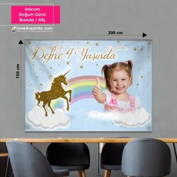 Doğum Günü Afişi ( 200 x 150 cm ) Unicorn Avrupa Vinil Branda