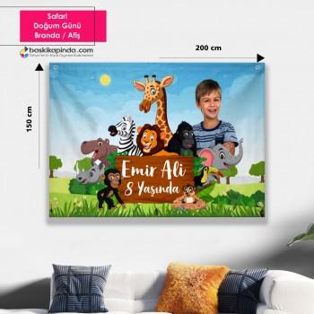 Doğum Günü Afişi ( 200 x 150 cm ) Safari Avrupa Vinil Branda
